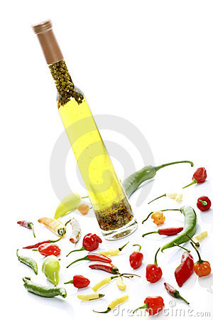 Oil and mixed peppers
