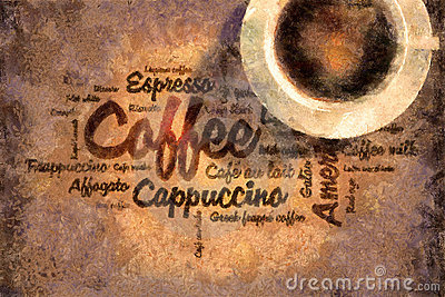 Oil painted coffee words