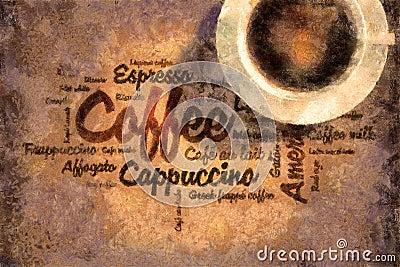 Oil painted coffee words
