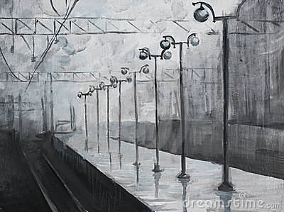 Oil painted picture with rainy train station