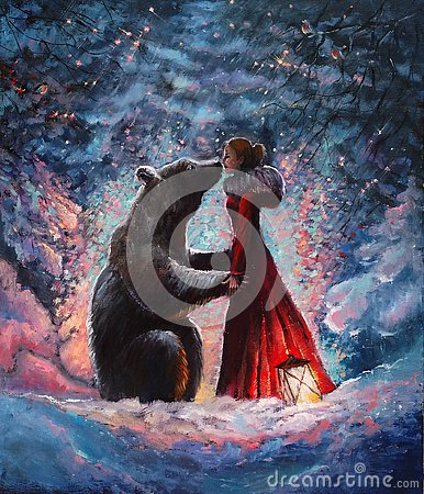 Oil paintein on canvas A girl in the red dress hugging and kissing a real brown big bear in the picturesque winter forest . Stock Photo