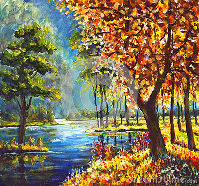 Free Oil Painting Autumn Gold Trees And Green Pine Tree On Shore Against The Backdrop Of Blue Mountain River Stock Photos - 96794723