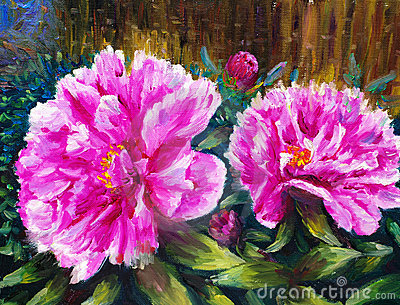 Oil Painting - Blooming Peony