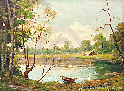 Oil painting - boat on the lake