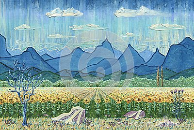 Field of sunflowers and mountains. Stock Photo