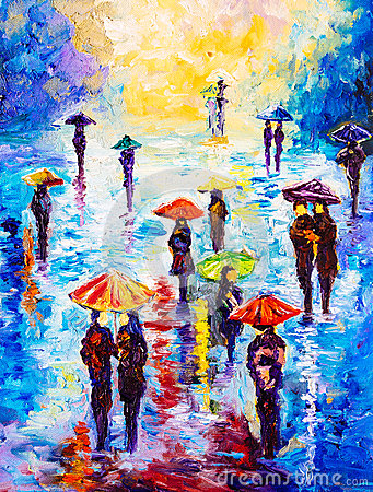 Free Oil Painting - Colorful Rainy Night Royalty Free Stock Image - 56646756