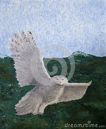 Oil Painting of Flying Owl