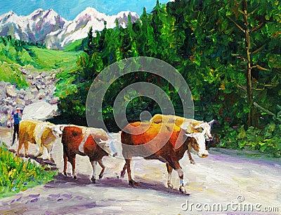 Oil Painting - Grazing Bull