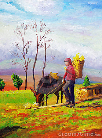 Oil Painting - Grazing horse