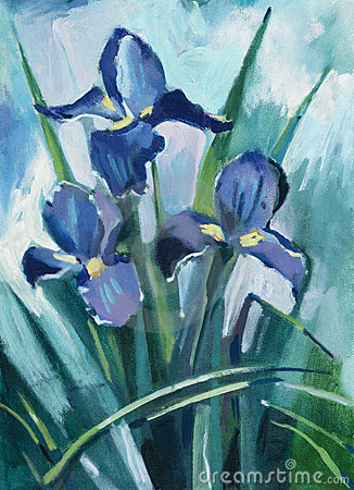 Oil painting iris flowers