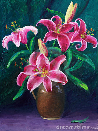 Free Oil-Painting - Lily Stock Photography - 15210342