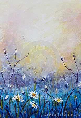 Free Oil Painting Of Flowers, Beautiful Field Flowers On Canvas. Modern Impressionism. Impasto Artwork. Royalty Free Stock Photography - 111101707