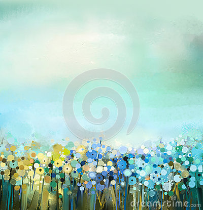 Free Oil Painting Of Flowers Plant. Dandelion Flower In Fields. Meadow Landscape With Wildflower. Stock Photo - 63381450