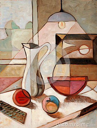 Free Oil Painting Of Still Life With Pitcher Stock Photography - 25563362