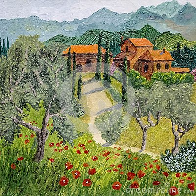 Free Oil Painting Of Tuscan Landscape - God Is In Details Royalty Free Stock Photography - 100704257