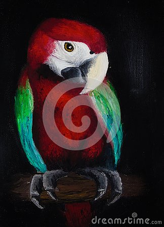 Free Oil Painting On Canvas Of A Colored Parrot On A Tree Trunk, Red Bird Isolated On Black Background Royalty Free Stock Photos - 132958988