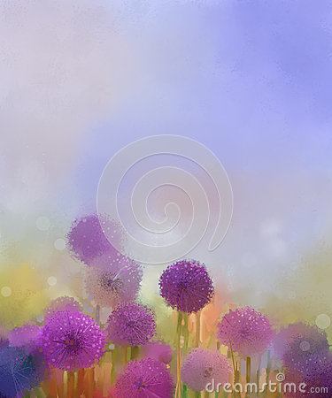 Free Oil Painting,Pastel Colors Light Purple Onion Flower In The Meadows Stock Image - 52657271