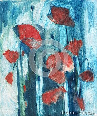 Oil painting poppy