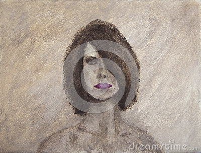 Oil painting portrait of a mystery woman