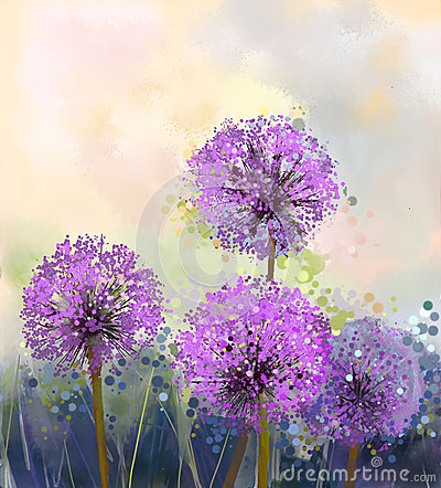 Free Oil Painting. Purple Onion Flower Royalty Free Stock Photo - 54317245