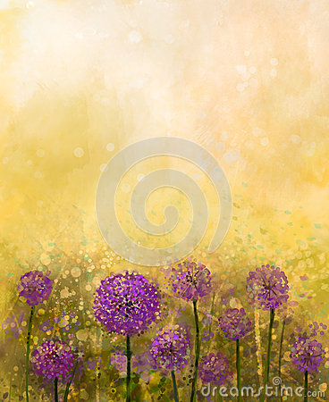 Free Oil Painting Purple Onion Flower In The Meadows Royalty Free Stock Photography - 56946827