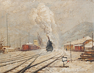 Oil painting representing old train station
