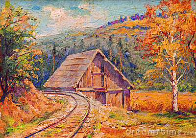 Oil painting showing railway tracks