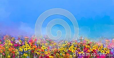 Oil painting of summer-spring flowers. Cornflower, daisy flower Stock Photo