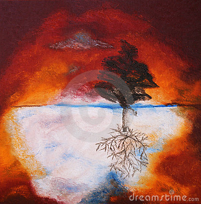 Oil painting of tree against sunset sky