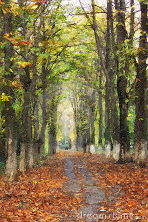 Oil painting with trees alley