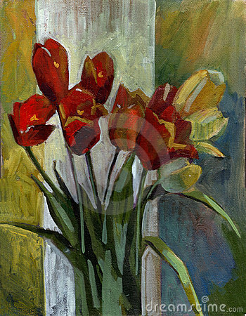 Free Oil Painting Tulips Stock Image - 9461311
