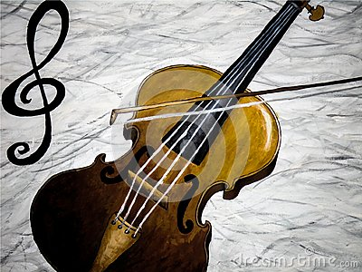 Oil painting of a violin playing with treble clef on white and black background, musical instrument Cartoon Illustration