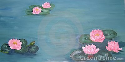 Traditional oil painting of waterlilies and goldfish