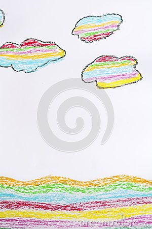 Oil Pastel Childlike Drawing Sea and Clouds Stock Photo