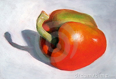 Oil Pastel Painting of a Bright Orange Pepper
