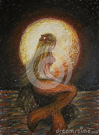 Free Oil Pastels Painting On Canvas Of Blonde Mermaid Standing On A Rock In The Sea With Big Red Moon On Background, Fantasy Royalty Free Stock Images - 131437179