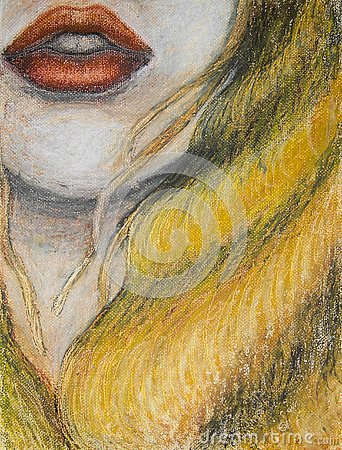Free Oil Pastels Painting On Canvas Of Woman With Orange Lips And Long Blond Hair, Drawing Of Closeup Of Face, Mouth Stock Image - 131345431