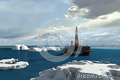 Oil platform in the Arctic Ocean