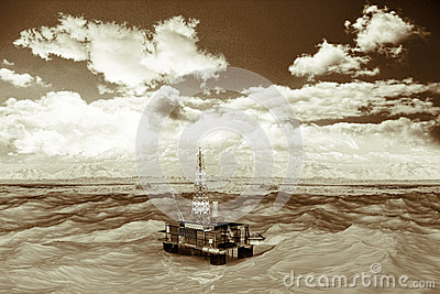 Oil platform in the ocean