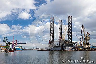 Oil platform in the shipyard