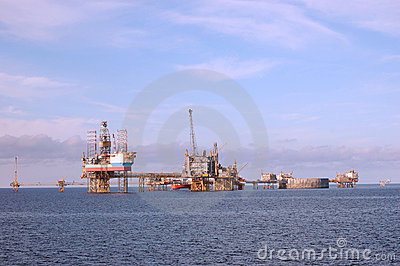 Oil platforms in North Sea