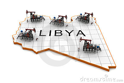 Oil pump-jacks on a map of Libya