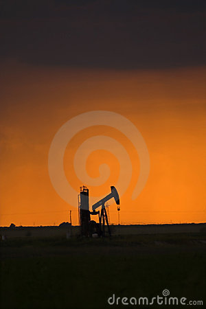 Oil pump at sunset