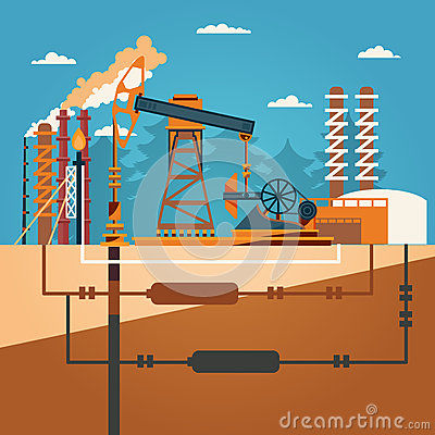 of ` Oil recovery, oil rig, oil industry set with extraction refinery ...