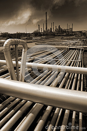 Oil refinery in brown toning concept