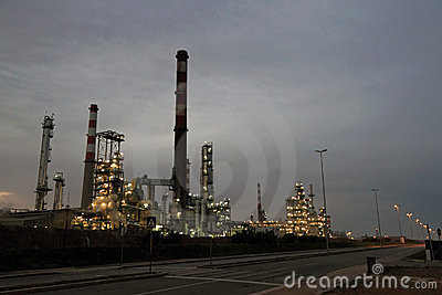Oil refinery at dawn