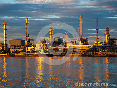 Oil refinery factory at Thailand. gold color