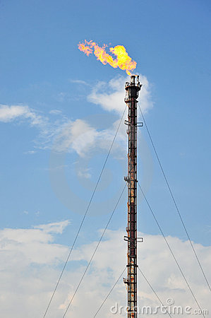 Oil Refinery Gas Flare Royalty Free Stock Photos - Image: 21977508