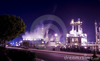 Oil refinery glowing