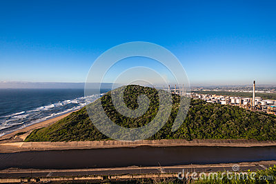 Oil Refinery Ocean Canal Vegetation Editorial Stock Photo